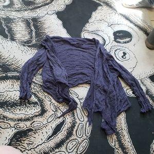 Eileen Fisher navy blue tie cardigan sweater M